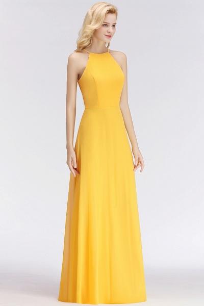 Yellow A-line Halter Sleeveless Floor Length Bridesmaid Dresses_4