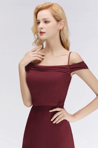 Burgundy A-line Floor Length Off-the-shoulder Bridesmaid Dresses_9