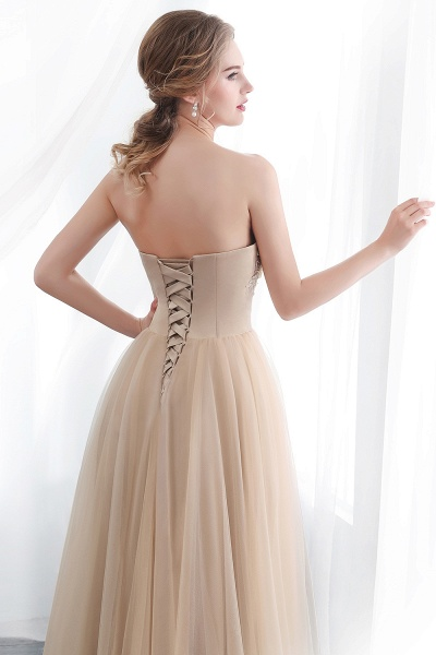 A-line Champagne Strapless Sweetheart Appliques Floor Length Evening Dresses_7