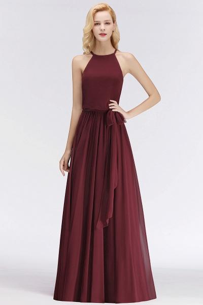 Burgundy Halter A-line Sleeveless Long Ruffles Chiffon Bridesmaid Dresses_4
