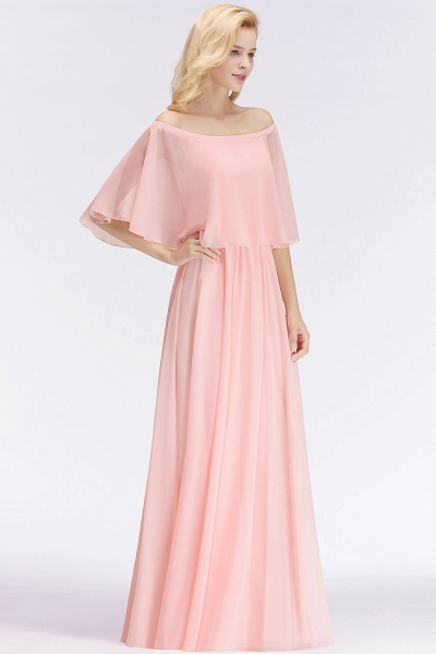 Pink A-line Long Off-the-shoulder Bridesmaid Dresses with Sleeves_5