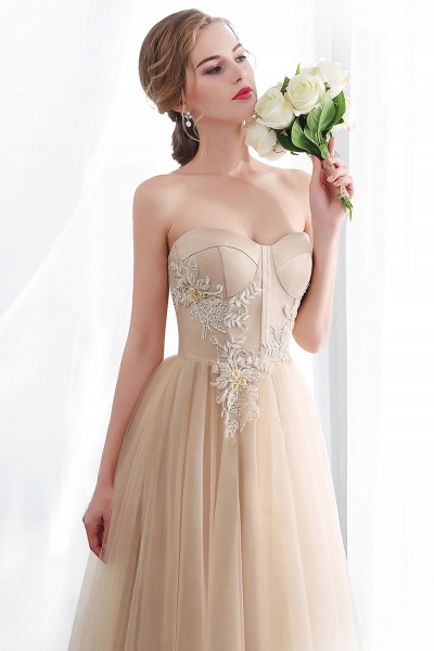 A-line Champagne Strapless Sweetheart Appliques Floor Length Evening Dresses_10