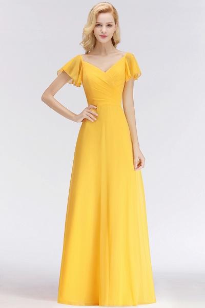 Chiffon A-line Long V-neck Short Sleeves Bridesmaid Dresses_1