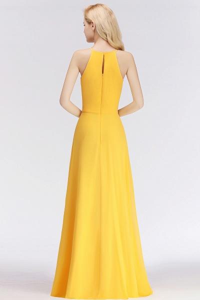 Yellow A-line Halter Sleeveless Floor Length Bridesmaid Dresses_3