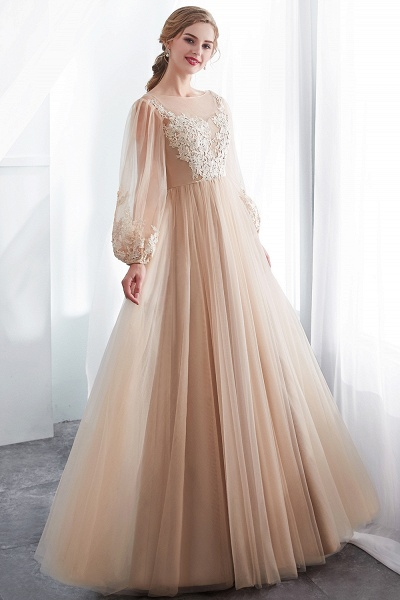 Champagne A-line Long Sleeves Appliques Tulle Evening Dresses_7