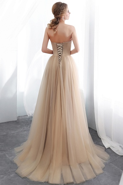 A-line Champagne Strapless Sweetheart Appliques Floor Length Evening Dresses_2