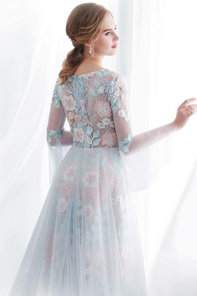 Sheath Long Sleeves Sheer Neckline Appliqued Flowers Evening Dresses_8