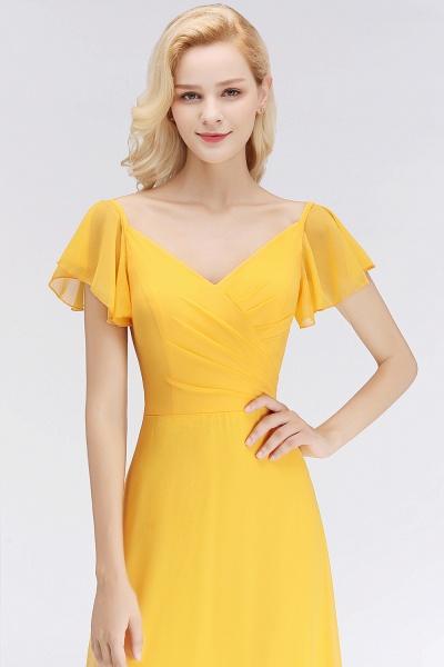 Chiffon A-line Long V-neck Short Sleeves Bridesmaid Dresses_6