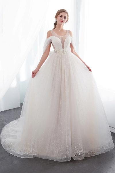 Lace A-line Sleeveless Floor Length Wedding Dresses_1