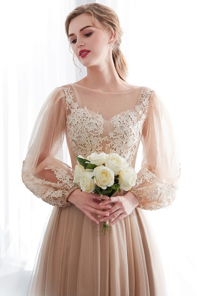 Champagne A-line Long Sleeves Appliques Tulle Evening Dresses_8