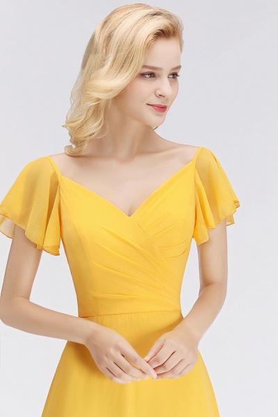 Chiffon A-line Long V-neck Short Sleeves Bridesmaid Dresses_8