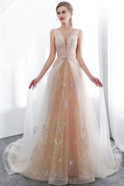 Champangne A-line Sleeveless Long Tulle Appliques Evening Dresses with Sash_6