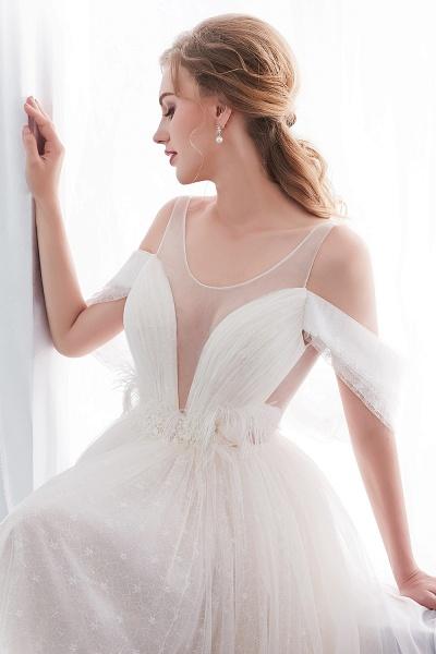 Lace A-line Sleeveless Floor Length Wedding Dresses_11