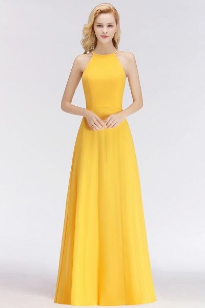 Yellow A-line Halter Sleeveless Floor Length Bridesmaid Dresses_1