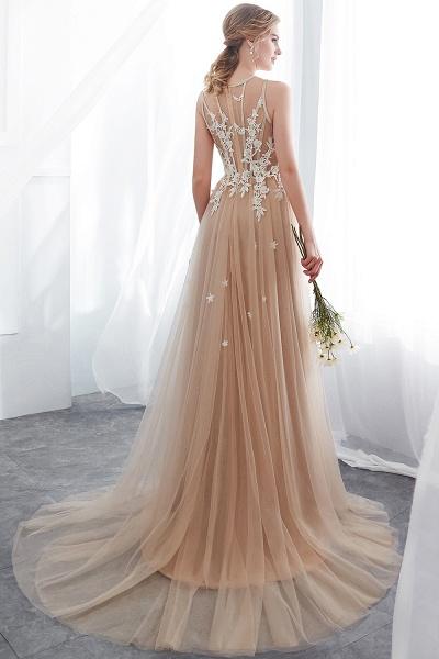 Aline Sleeveless Appliqued Tulle Floor Length Evening Dresses_3
