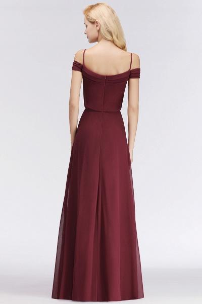 Burgundy A-line Floor Length Off-the-shoulder Bridesmaid Dresses_3