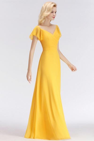 Chiffon A-line Long V-neck Short Sleeves Bridesmaid Dresses_4