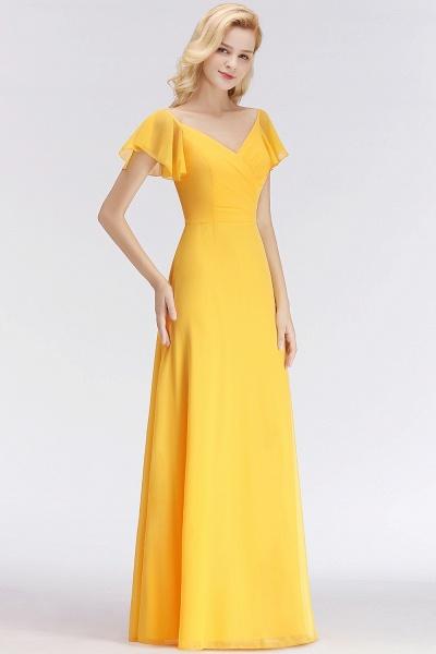 Chiffon A-line Long V-neck Short Sleeves Bridesmaid Dresses_5