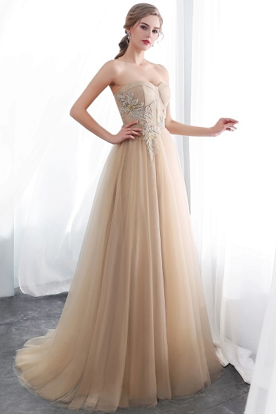 A-line Champagne Strapless Sweetheart Appliques Floor Length Evening Dresses_4