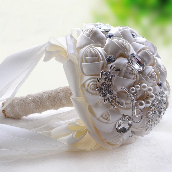Colorful Silk Rose Crystal Beading Wedding Bouquet_12