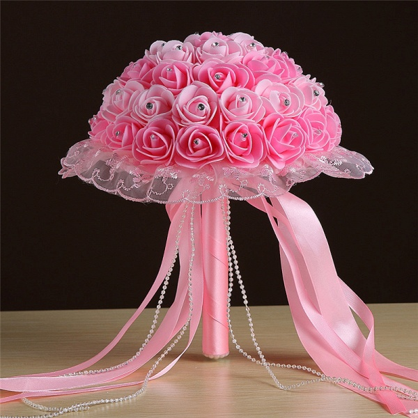 Grand Silky Rose Bouquet for Wedding in Multiple Colors_3