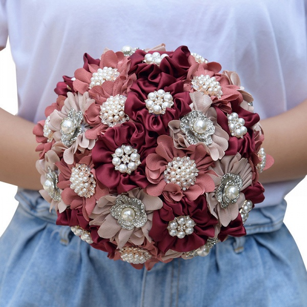 Silk Rose Pearls Wedding Bouquet in Three Tune Colors_10