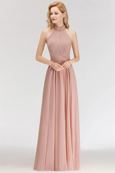 A-line Floor Length Halter Ruffled Chiffon Bridesmaid Dresses_6