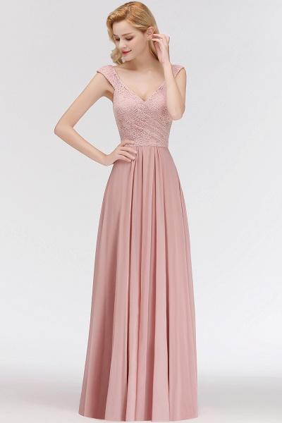 MARIA | A-line Long V-neck Sleeveless Lace Top Chiffon Bridesmaid Dresses_7