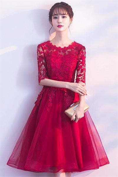 MARGARET   A-line Half sleeves Short Burgundy Appliques Tulle Homecoming Dresses_4