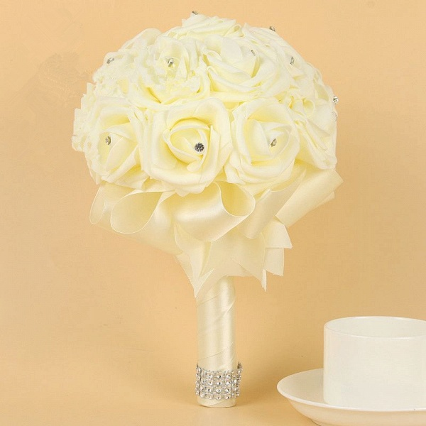 Ivory Silk Beading Rose Bouquet with Colorful Ribbons_2