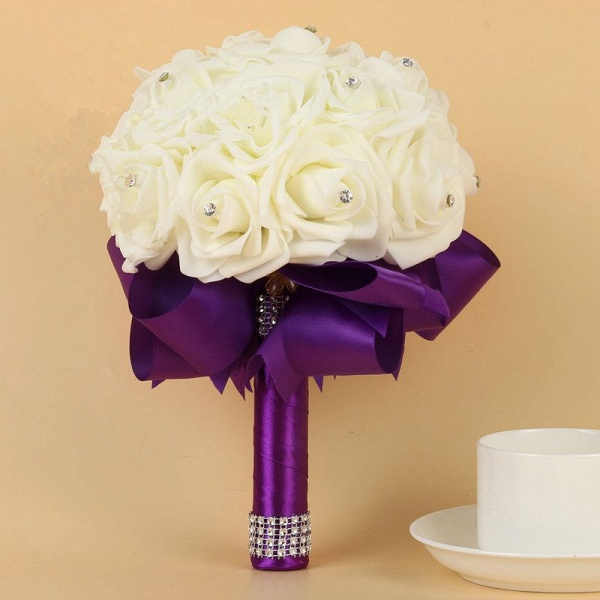 Ivory Silk Beading Rose Bouquet with Colorful Ribbons_6