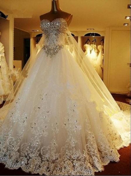 A Line Sweetheart Appliques Crystal Beading Elegant Wedding Dress_1