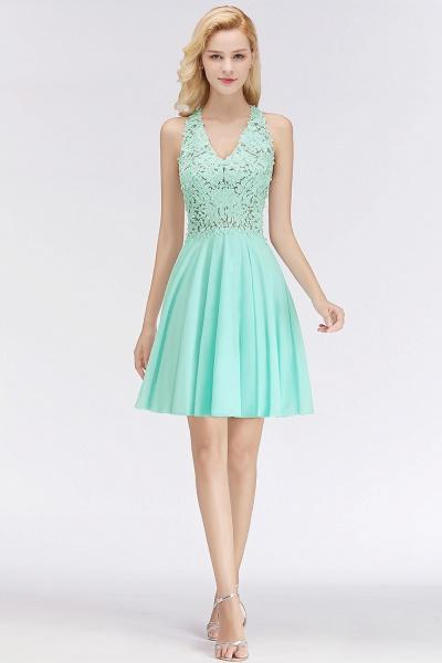 BM0064 V-Neck Short Lace A-Line Sleeveless Bridesmaid Dress_3