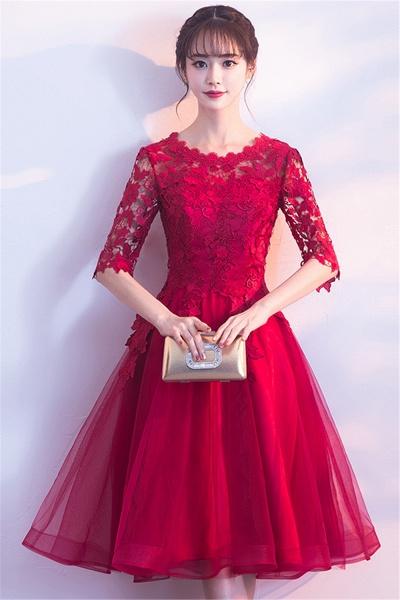 MARGARET   A-line Half sleeves Short Burgundy Appliques Tulle Homecoming Dresses_5