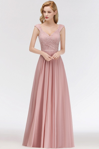 MARIA | A-line Long V-neck Sleeveless Lace Top Chiffon Bridesmaid Dresses_2