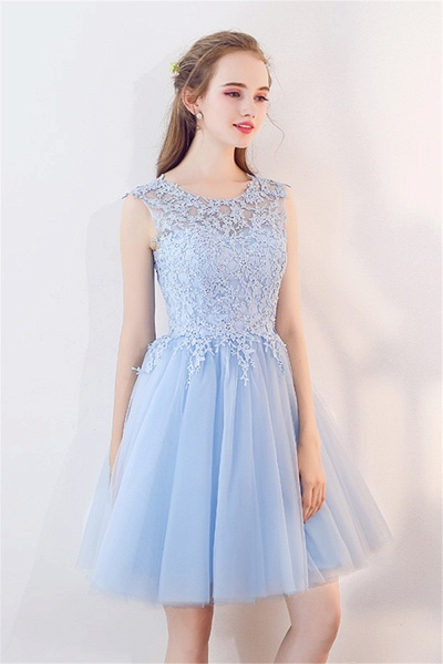 MARCIA | A-line Sleeveless Short Appliqued Top Tulle Homecoming Dresses_5