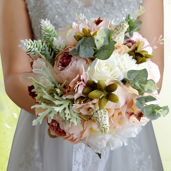 Real Touch Colorful  Artifial Roses Wedding Bouquet_12