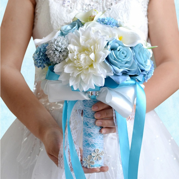 Artificial Camomile and Lily Wedding Bouquet in Blue and White_3