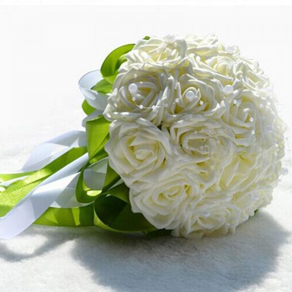 Gogerous Silk Rose Multiple Colors Wedding Bouquet_1