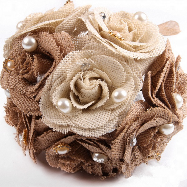 Brown Bouquet for Wedding with ribbon strings_6
