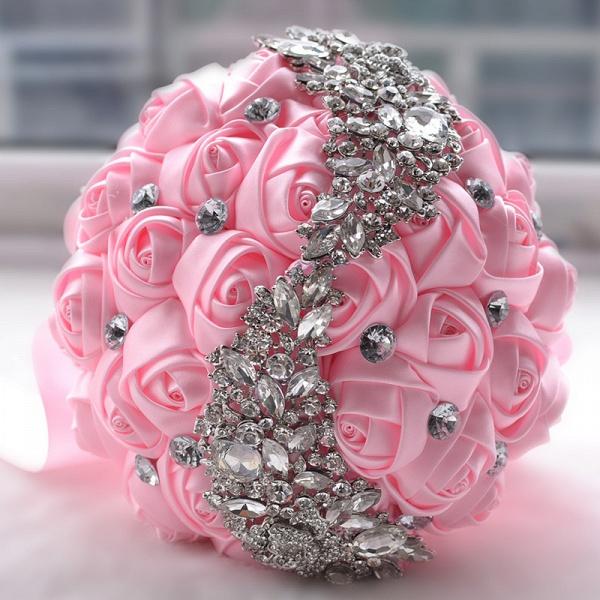 Slik Rose Beading Wedding Bouquet in Multiple Colors_2