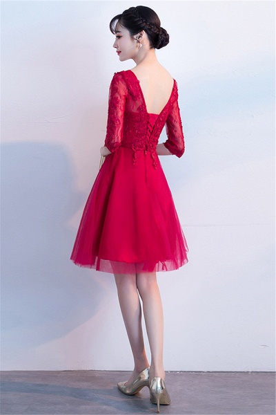 MARGE | A-line V-neck Half Sleeves Tulle Appliques Homecoming Dresses_3