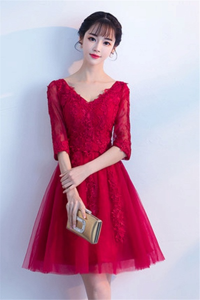 MARGE | A-line V-neck Half Sleeves Tulle Appliques Homecoming Dresses_2