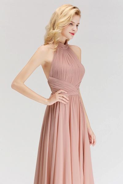 A-line Floor Length Halter Ruffled Chiffon Bridesmaid Dresses_4