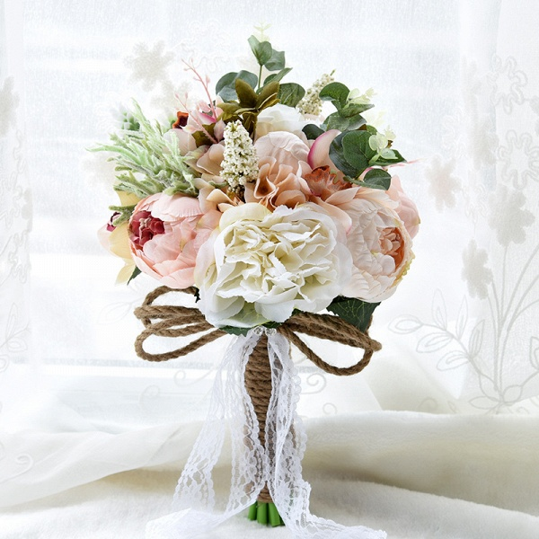 Real Touch Colorful  Artifial Roses Wedding Bouquet_1