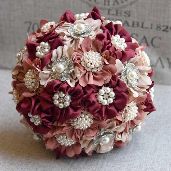 Silk Rose Pearls Wedding Bouquet in Three Tune Colors_2
