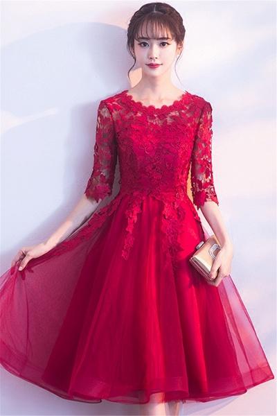MARGARET   A-line Half sleeves Short Burgundy Appliques Tulle Homecoming Dresses_6