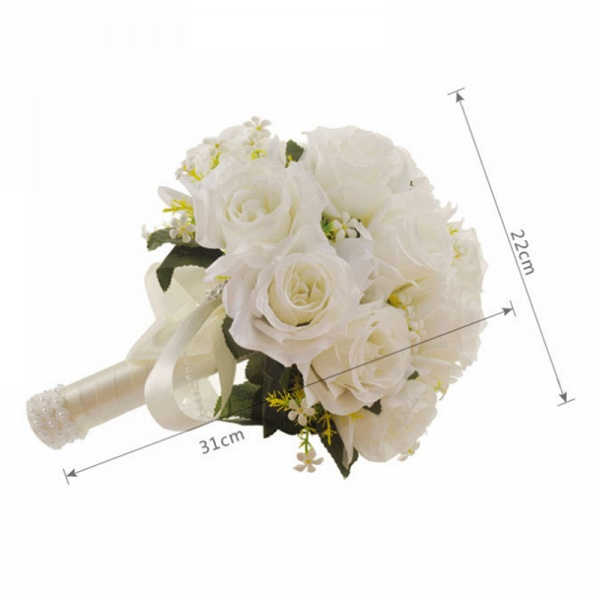 White Rose Artificial Wedding Bouquet with Handle_7