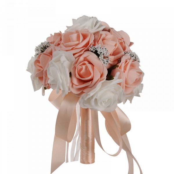 Two Colors Silk Flowers Wedding Bouquet with Ribbon_2