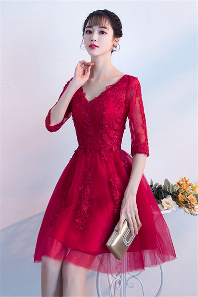 MARGE | A-line V-neck Half Sleeves Tulle Appliques Homecoming Dresses_4